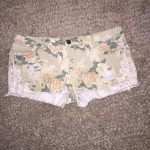 Mossimo Floral and Lace Cut-Off Jean Shorts
